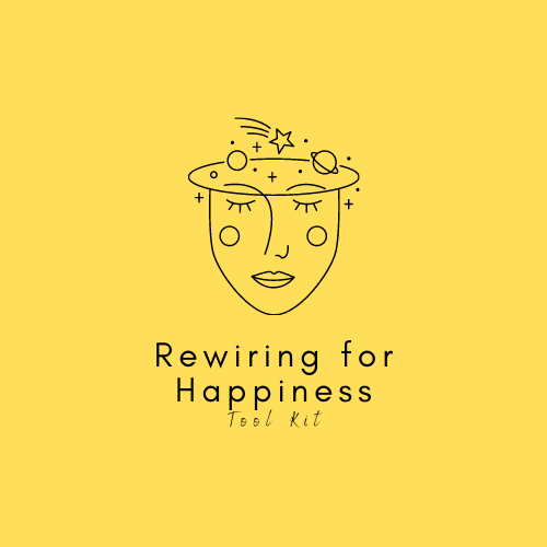 Rewiring for happiness logo - icon drawing of a person with many things swirling over their brain