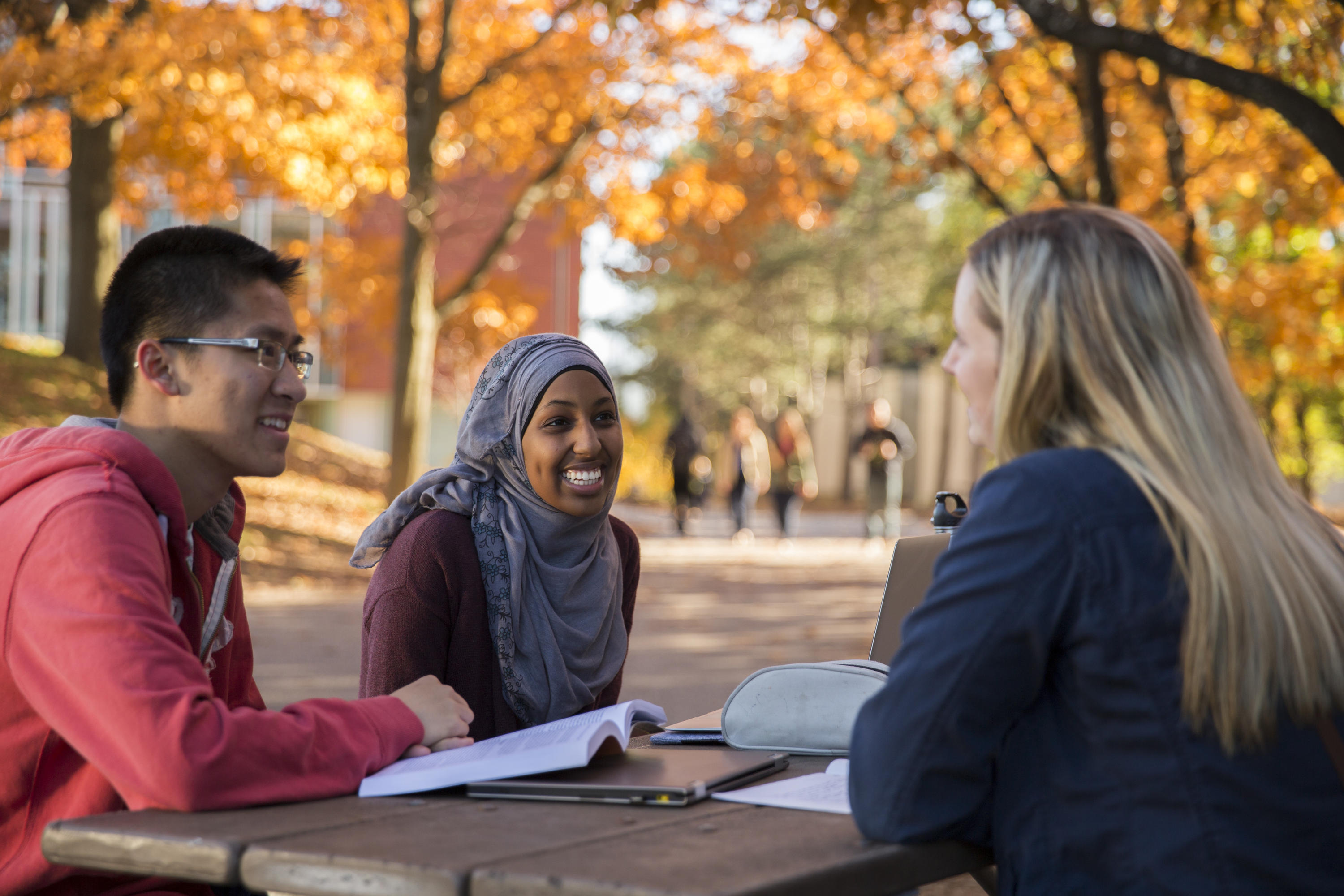 students talking together outside