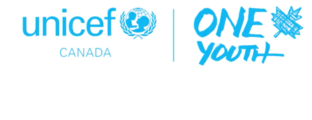 blue and white unicef and one youth national logos