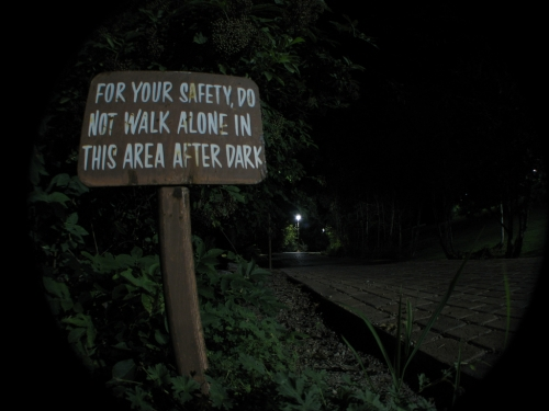 for your safety, do not walk in this area after dark