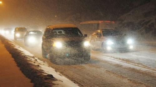 traffic jam in snowstorm