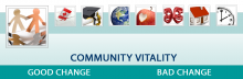 The infographic for Community Vitality domain.