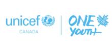 blue and white Unicef One Youth logo