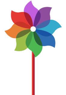 Rainbow coloured pinwheel