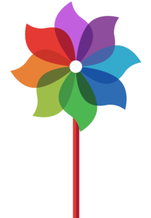 multi-coloured pinwheel graphic