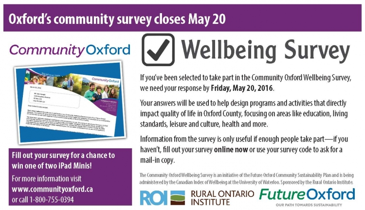 Newspaper ad for Oxford County Community Wellbeing Survey