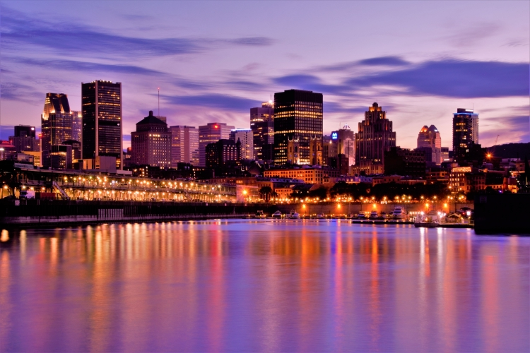 landscape of Montreal at night