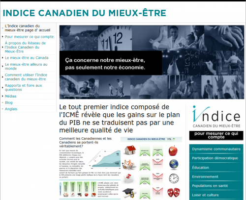 A screenshot of the French version of Canadian Index of Wellbeing.