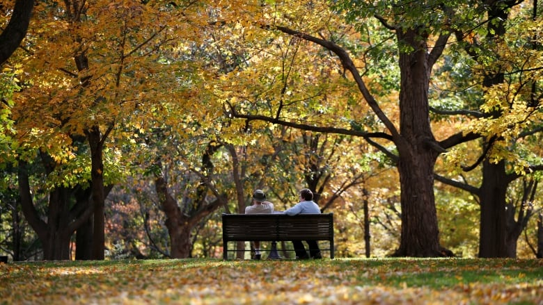 A couple in Ottawa enjoying a warm autumn day