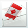 Democratic engagement- voting ballot with canadian flag