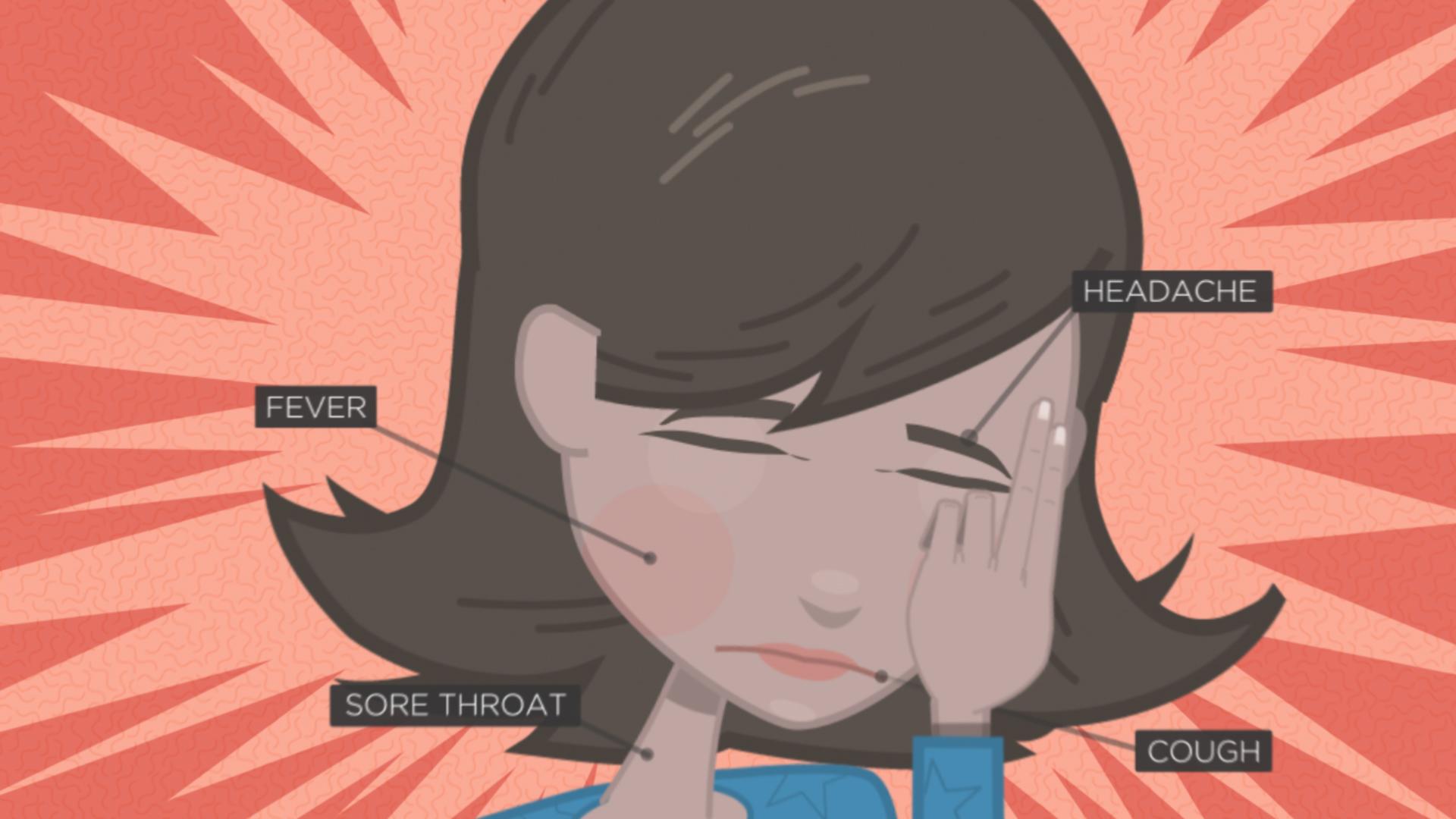 Cartoon of person experiencing flu symptoms