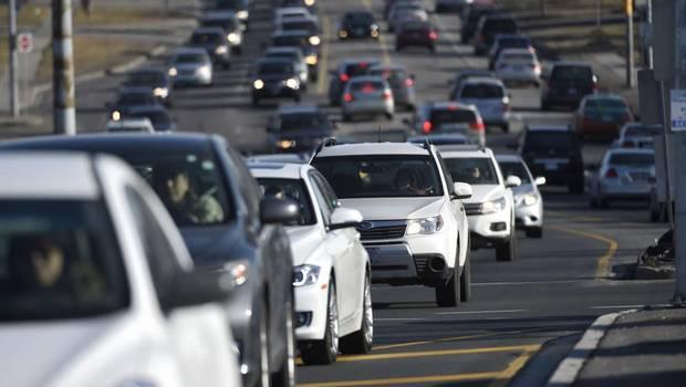 cars stuck in a traffic jam