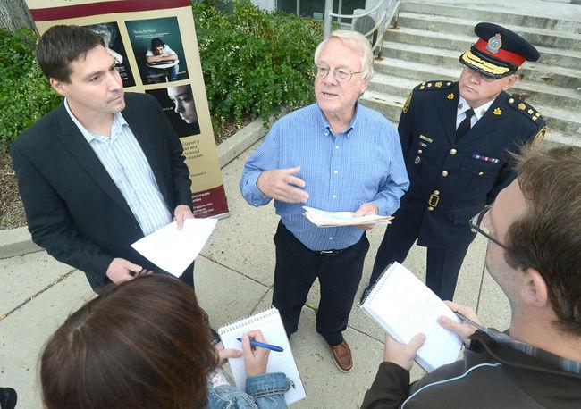 Dr. Ken Clarke, United Way Perth-Huron executive director Ryan Erb and 2014 campaign co-chair John Bates