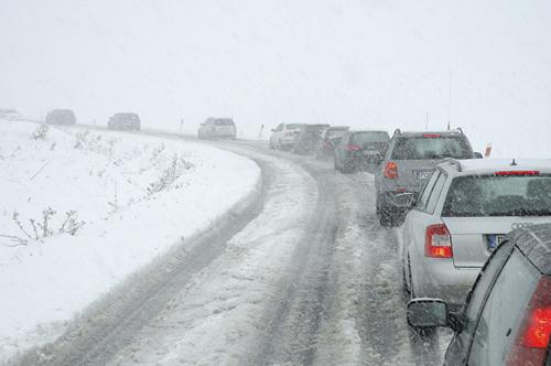 traffic jam on snowy road