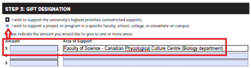 Screenshot of portion of mail or fax form showing where to click (second box) and where to fill in CPCC information