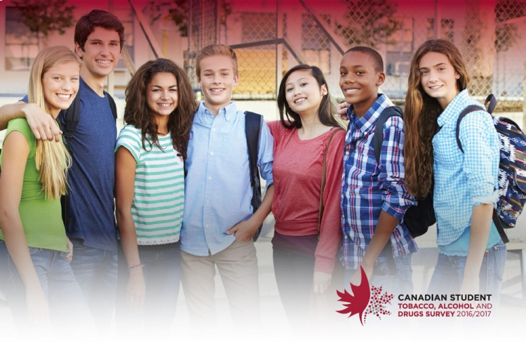 Group of seven school-aged children.  Canadian student tobacco, alcohol and drugs survey logo (decorative).