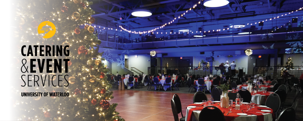 Federation Hall with December holiday decorations and the Catering and Event SErvices logo