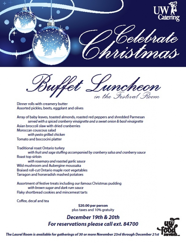 Christmas Buffet Luncheon | Catering | University of Waterloo
