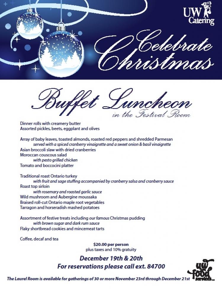 Christmas Buffet Menus.Christmas Buffet Luncheon Catering University Of Waterloo