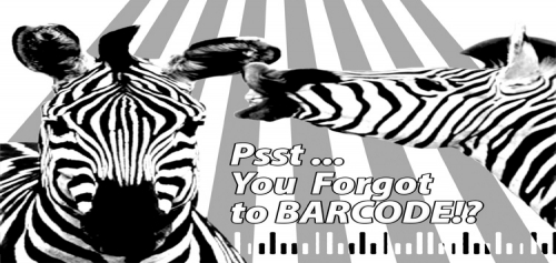 2 zebras whispering to each other about forgetting a barcode