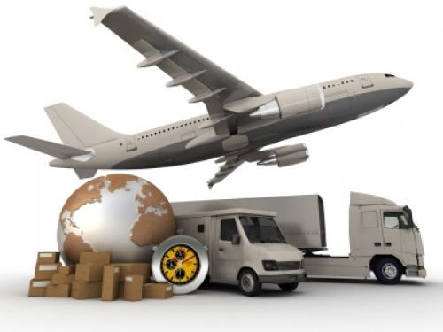 plane, van, truck, packed boxes ready to be shipped, globe