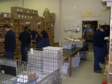 sorting racks and mail persons sorting