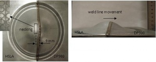 The biaxial stretch formed HSLA-DP980 (dissimilar combinations) LWBs prepared by diode laser welding