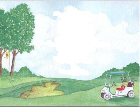 Scene of golf course with tress and golf cart.