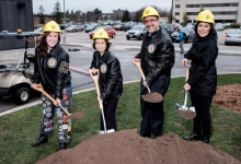 annah Gautreau, engineering student and president of EngSoc B, Pearl Sullivan, dean of engineering, University of Waterloo President Feridun Hamdullahpur and Elahe Jabari, PhD candidate in mechanical and mechatronics engineering, put shovels in the ground at E7 groundbreaking event.