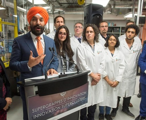 Federal Innovation Minister Navdeep Bains makes a funding announcement in Montreal last fall.