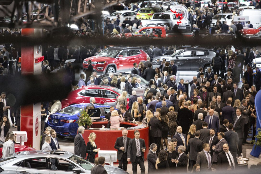 People browsing at Toronto Auto Show