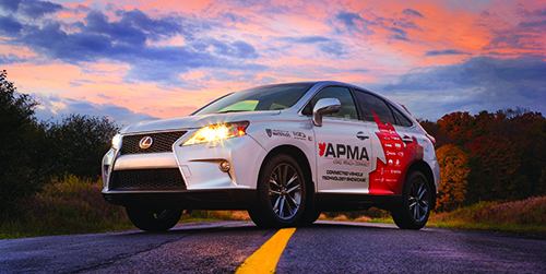 APMA connected car parked on road at sunrise