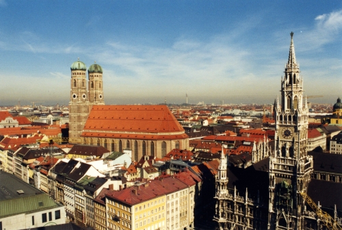 The Frauenkirche, Altes Rathaus, and other buildings that make up the Munich skyline