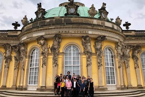 group of students in front of sanssouci