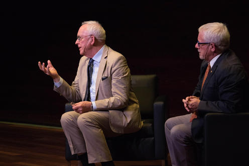 During the Q&A period Gareth Stedman Jones (left) and Douglas Peers (right)