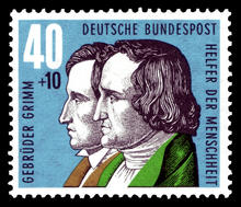 postage stamp featuring the Brothers Grimm