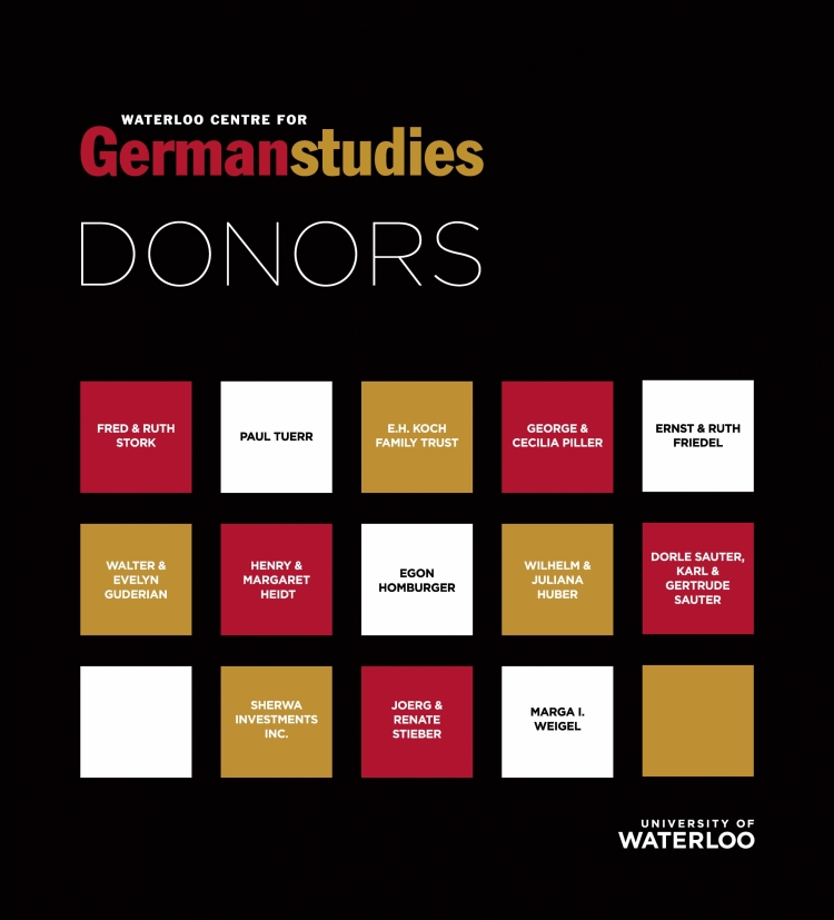 List of donors who've supported the Waterloo Centre for German Studies.