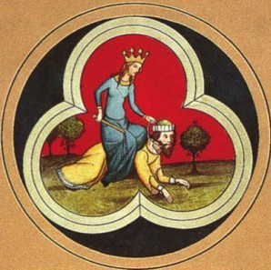 Medieval woman riding on top of medieval man