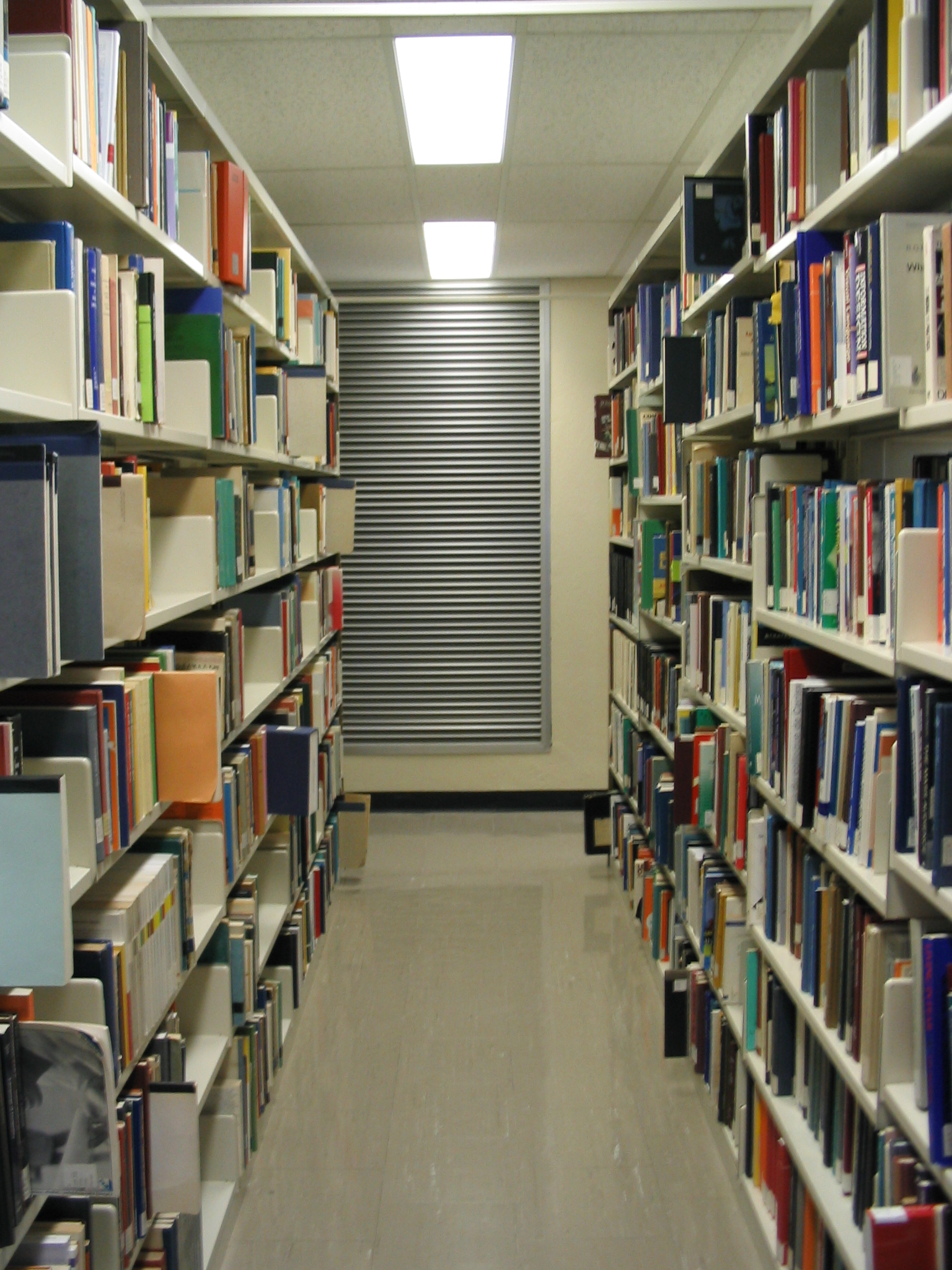 A row of books in the Dana Porter Library