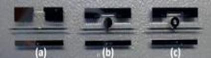a) Straight waveguide., b)WGM disc resonator, c) WGM disc resonator.