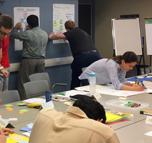 Five graduate students write on sticky notes and large white pages as part of a course design activity at a Centre for Teaching Excellence workshop for TAs
