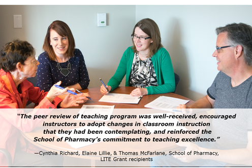 LITE recipients Cynthia Richard, Elaine Lillie, & Thomas McFarlane (Pharmacy) investigated a peer review of teaching program