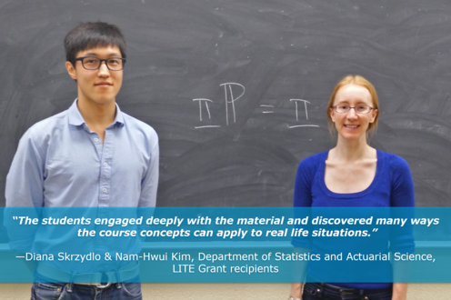 LITE recipient Diana Skrzydlo (Statistics & Actuarial Science) found interactive activities led to deeper learning