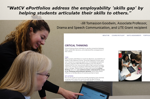 LITE recipient Jill Tomasson Goodwin (Drama and Speech Communication) found eportfolios help students articulate their skills