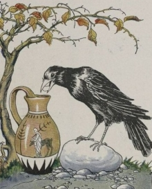 A crow trying to get beans out of a narrow mouth vase