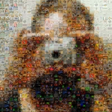 A mosaic depicting a man taking a picture with a digital camera; made of many smaller indiscernable images