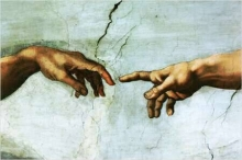 Two hands reaching to touch each other (from The Creation of Adam section of the Sistine Chapel Ceiling)