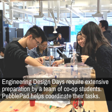 Engineering Design Days require extensive preparation by a team of co-op students. PebblePad helps coordinate their tasks.