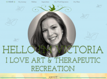 "Image from a student ePortfolio featuring a headshot of a young, smiling female student and the byline ""I love art and therapeutic recreation"""
