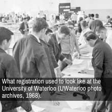 """What registration used to look like at the University of Waterloo (UWaterloo photo archives, 1968)."""""""